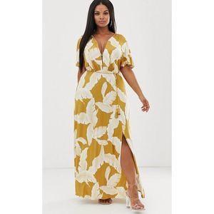 ASOS Floral Flutter Sleeve Maxi Dress Tassel Belt